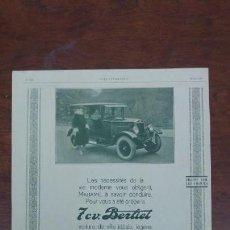 Coches: BERLIET AUTOMOVILES ANTIGUOS LYON PARIS 5 HOJAS REVISTA PUBLICIDAD AÑOS 1923-1924-1926. Lote 155679518