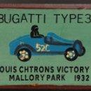 Coches: CAJITA-LAPICERO BUGATTI TYPE 35 LOUIS CHTRONS VICTORY LAP MALLORY PARK 1932. Lote 158234914