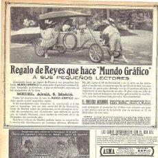 Coches: 1912 HOJA REVISTA MADRID AUTOMÓVIL COCHE DE JUGUETE REGALO A PEQUEÑOS LECTORES CASA MEDEL. Lote 165305466