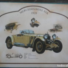 Coches: LAMINA SOBRE MADERA MERCEDES BENZ SSK 1928. 25 X 20 CMS. Lote 170104780