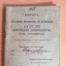 Coches: CERTIFICADO INTERNACIONAL AUTOMÓVILES AUTOMÓVIL CLUB DE ESPAÑA AÑO 1932 - FORD SEDAN. Lote 180174487