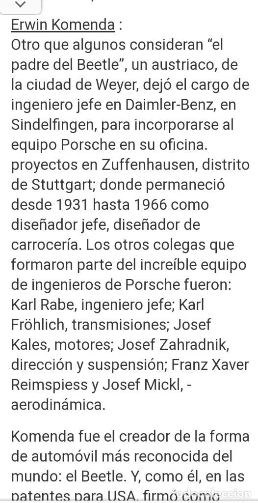 Coches: 1º PROTOTIPO MAQUETA Volkswagen BEETLE V1..1934 de FERDINAND PORSCHE para ADOLF HITLER.. único. - Foto 27 - 212564175