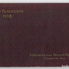 Coches: ADLER AUTOMOBILE 1908. ADLERWERKE VORM. HEINRICH KLEYER A.G. FRANKFURT AM MAIN. Lote 272254908