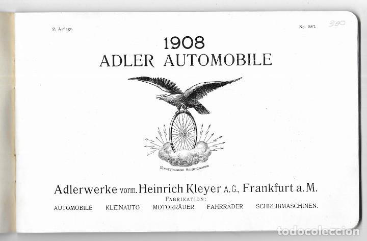 Coches: Adler Automobile 1908. Adlerwerke vorm. Heinrich Kleyer A.G. Frankfurt am Main - Foto 3 - 272254908