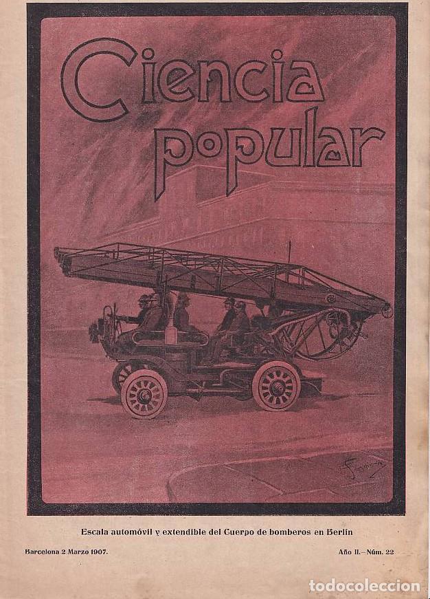 BOMBEROS -REVISTA BARCELONESA CON ILUSTRACIONES- CIENCIA POPULAR - 2 MARZO 1907 - VEHÍCULOS (Coches y Motocicletas - Coches Antiguos (hasta 1.939))