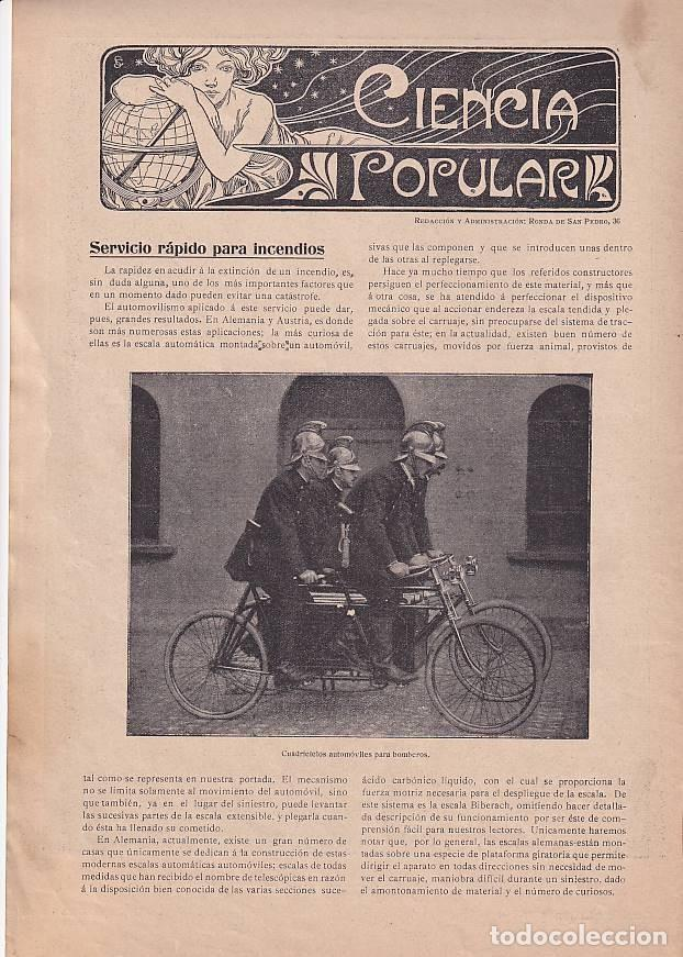 Coches: Bomberos -REVISTA BARCELONESA con ilustraciones- CIENCIA POPULAR - 2 marzo 1907 - vehículos - Foto 2 - 276262428