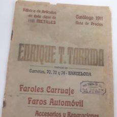 Coches: CATÁLOGO DE PUBLICIDAD DE FAROS AUTOMÓVIL Y CARRUAJES 1911. Lote 288652733