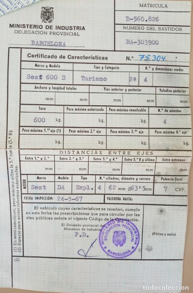 Coches: COCHE CLASICO - SEAT 600 D MIRABRAGAS - AÑO 1967 - Foto 27 - 170969002