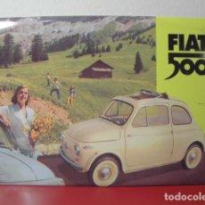 Coches: PLACA PUBLICITARIA FIAT 500 DE METAL. Lote 182531716