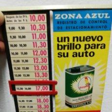 Coches: ANTIGUO REGISTRO DE CONTROL DE ESTACIONAMIENTO. ZONA AZUL. PUBLICIDAD URRUZOLA.. Lote 254908165