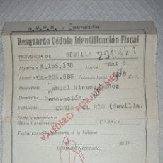 Coches: RESGUARDO CÉDULA IDENTIFICACIÓN FISCAL SEAT 850. Lote 275476658