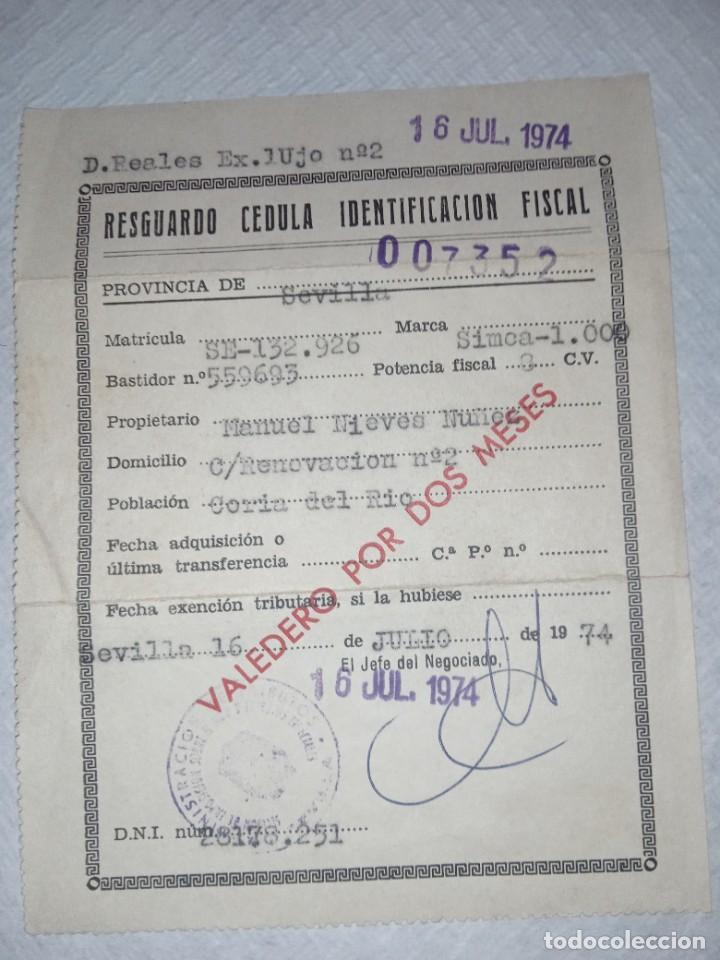 RESGUARDO CÉDULA IDENTIFICACIÓN FISCAL SIMCA 1000 (Coches y Motocicletas - Coches Clásicos (a partir de 1.940))