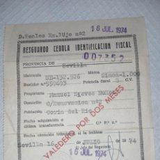 Coches: RESGUARDO CÉDULA IDENTIFICACIÓN FISCAL SIMCA 1000. Lote 275476828