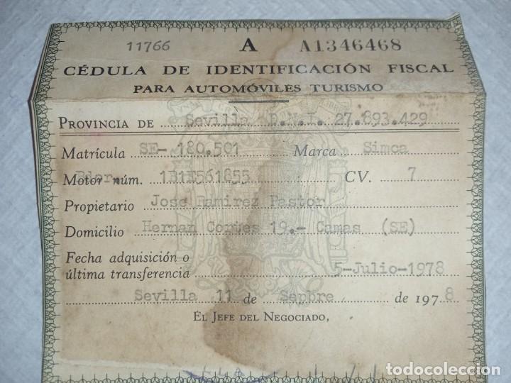CEDULA IDENTIFICACIÓN FISCAL AUTOMÓVILES , SIMCA (Coches y Motocicletas - Coches Clásicos (a partir de 1.940))