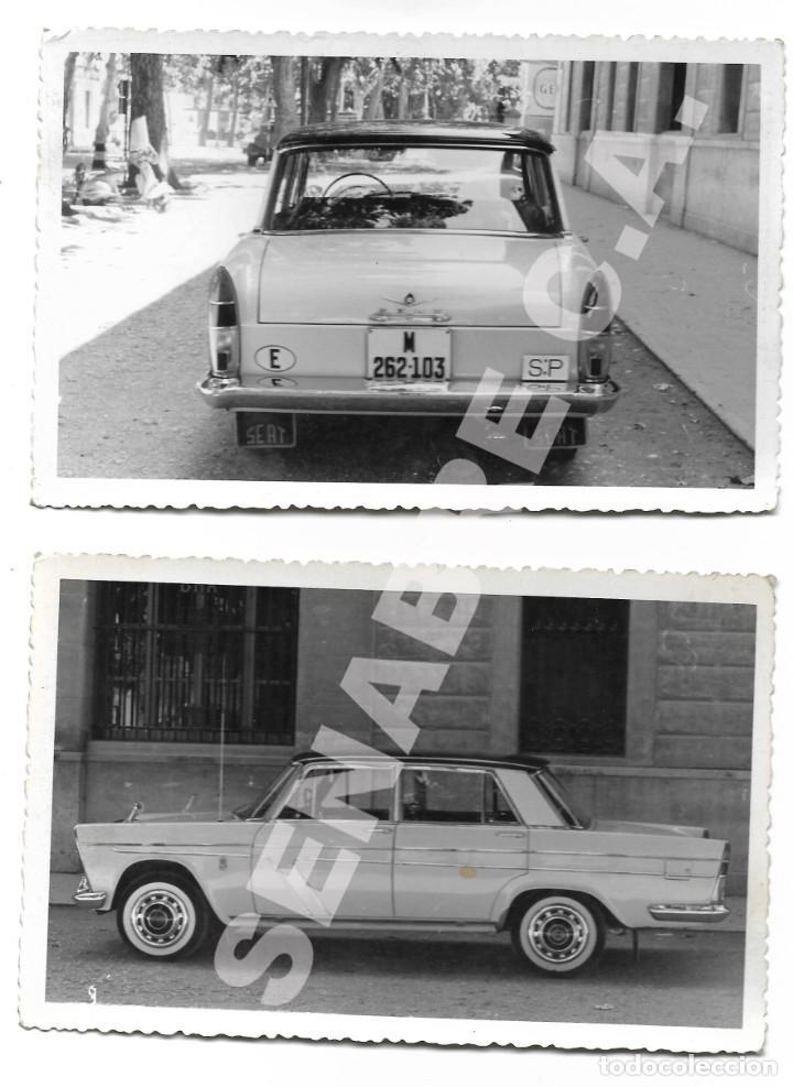 LOTE 2 FOTOGRAFÍAS 14 X 9 CM SEAT 1500 MATRÍCULA MADRID AÑOS 60 SERVICIO PÚBLICO (Coches y Motocicletas - Coches Clásicos (a partir de 1.940))