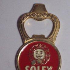 Abrebotellas y sacacorchos de colección: ABRIDOR SOLEY (METAL DORADO). Lote 46429472