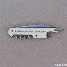 Abrebotellas y sacacorchos de colección: SACACORCHOS MULTIUSOS CON NAVAJA, CHOCOLATES LLOVERAS, DE TODAS MANERAS. Lote 91833510