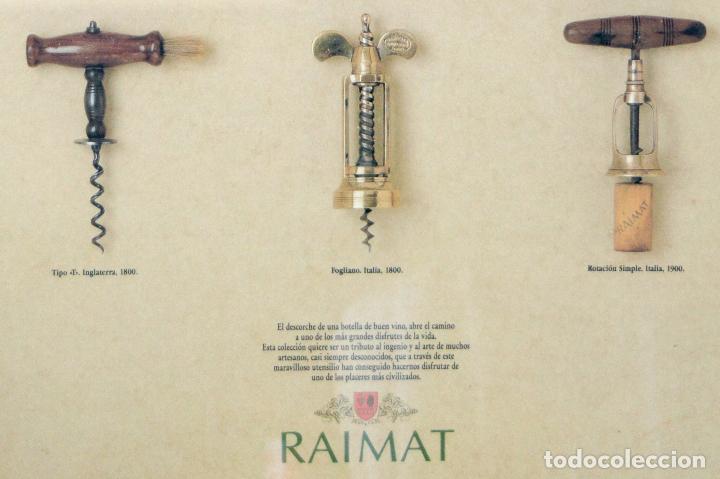 Abrebotellas y sacacorchos de colección: CARTEL PUBLICITARIO COLECCIÓN ANTIGUOS SACACORCHOS EUROPA BODEGAS RAIMAT - Foto 4 - 108180739