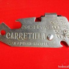 Abrebotellas y sacacorchos de colección: ABRELATAS CONSERVAS CARRETILLA Y MERMELADAS BEBE.SAN ADRIAN NAVARRA. Lote 113350079