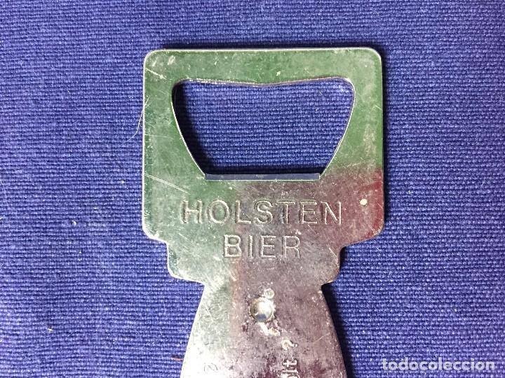Abrebotellas y sacacorchos de colección: abrebotellas metal plateado holsten bier beer biere who pays quien paga dedo qui paie 9,5x4cms - Foto 4 - 129523927