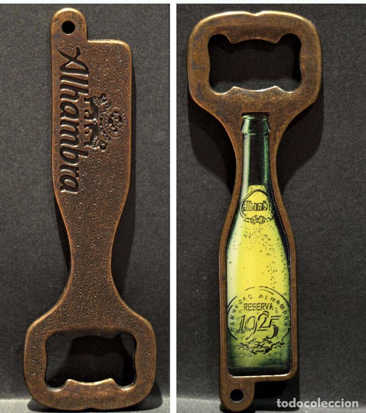 ABREBOTELLAS METALICO PUBLICIDAD CERVEZA ALHAMBRA (Coleccionismo - Botellas y Bebidas - Abrebotellas y Sacacorchos)