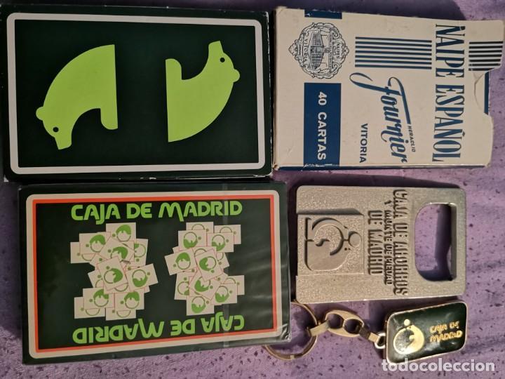 LOTE CAJA MADRID 2 NAIPES 1 ABREBOTELLAS 1 LLAVERO Y NAIPE PHILIS (Coleccionismo - Botellas y Bebidas - Abrebotellas y Sacacorchos)