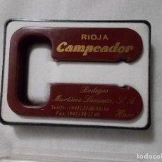 Abrebotellas y sacacorchos de colección: CORTACAPSULAS PARA BOTELLAS DE VINO - PUBLICIDAD - RIOJA CAMPEADOR - SIN USAR, EN SU CAJA ORIGINAL. Lote 168207580
