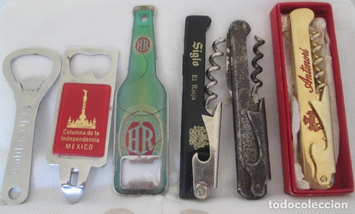 LOTE DE 6 ABRIDORES. DISTINTOS MODELOS, DISTINTAS ÉPOCAS (Coleccionismo - Botellas y Bebidas - Abrebotellas y Sacacorchos)