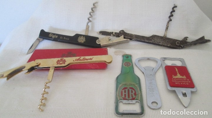 Abrebotellas y sacacorchos de colección: Lote de 6 abridores. Distintos modelos, distintas épocas - Foto 5 - 178243650