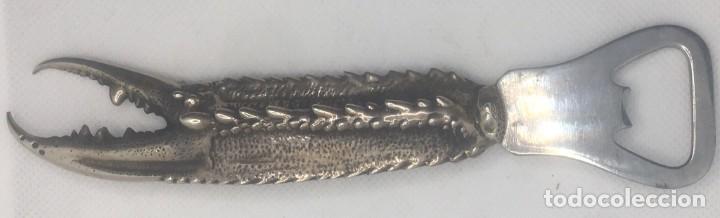 Abrebotellas y sacacorchos de colección: ABRE BOTELLAS EN PLATA CON CONTRASTES - PATA CANGREJO - Foto 4 - 288909088