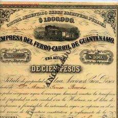 Coleccionismo Acciones Españolas: LOTE DE 10 ACCIONES FERROCARRIL GUANTANAMO 1882 CUBA , 10 EJEMPLARES , RB. Lote 25579779