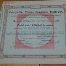 Colecionismo Ações Espanholas: INDUSTRIA COMPAÑÍA .. FRANCO – ESPAÑOLA MONDIA S.A. 1909. Lote 143799724
