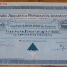 Coleccionismo Acciones Españolas: COMPAÑIA AUXILIAR DE NAVEGACION Y DRAGADOS S.A. 1929. Lote 17125582