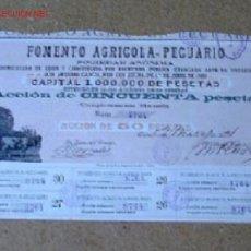 Colecionismo Ações Espanholas: FOMENTO AGRICOLA PECUARIO S.A. .. 1901 GIJON. Lote 16361316