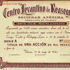 Coleccionismo Acciones Españolas: ACCION CENTRO LEVANTINO DE REA SEGUROS VALENCIA 1942. Lote 24088946