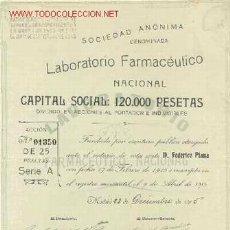 Coleccionismo Acciones Españolas: SOCIEDAD ESPAÑOLA LABORATORIO FARMACEUTICO NACIONAL 1915 *. Lote 115937718