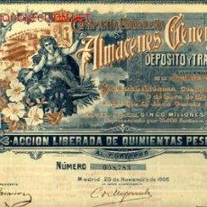 Coleccionismo Acciones Españolas: TRANSPORTES : COMPAÑIA MADRILEÑA DE ALMACENES GENERALES DE DEPOSITO 1906 *. Lote 103688939
