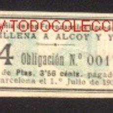 Coleccionismo Acciones Españolas: COMPAÑIA FERROCARRILES ECONOMICOS DE VILLENA A ALCOY Y YECLA. Lote 27110971