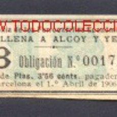Coleccionismo Acciones Españolas: COMPAÑIA FERROCARRILES ECONOMICOS DE VILLENA A ALCOY Y YECLA. Lote 27256231