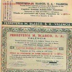 Coleccionismo Acciones Españolas: ACCION FERRETERIA BLASCO VALENCIA 1941. Lote 26590014