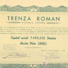Coleccionismo Acciones Españolas: 1955 TRENZA ROMAN BARCELONA ACCION Nº134 20 CUPONES. SIMILAR A LA DE LA FOTO.. Lote 80908274
