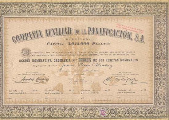 COMPAÑIA AUXILIAR DE LA PANIFICACION = BARCELONA 1945 = * (Coleccionismo - Acciones Españolas)