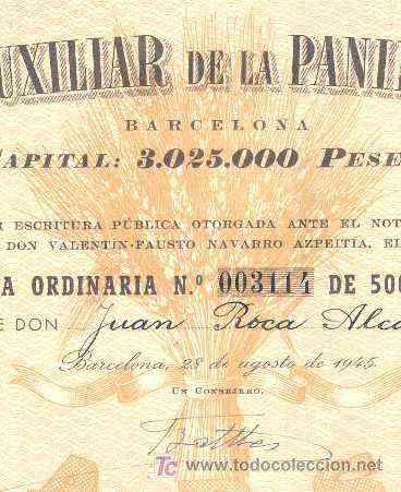 Coleccionismo Acciones Españolas: COMPAÑIA AUXILIAR DE LA PANIFICACION = BARCELONA 1945 = * - Foto 2 - 5293764