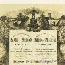 Coleccionismo Acciones Españolas: OBLIGACION DE LA COMPAÑIA DE FERROCARRILES DIRECTOS MADRID Y ZARAGOZA A BARCELONA. Lote 3827371
