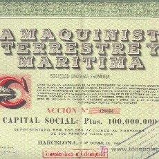 Coleccionismo Acciones Españolas: 1948 ACCION 500 PTAS. 1948 LA MAQUINISTA TERRESTRE Y MARITIMA BARCELONA. Lote 23076873