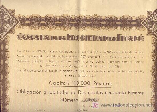 1936 250 PESETAS CAMARA DE LA PROPIEDAD DEL FIGARÓ OBLIGACIÓN Nº010 CON 19 CUPONES (Coleccionismo - Acciones Españolas)