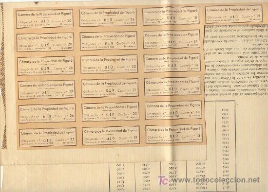 Coleccionismo Acciones Españolas: 1936 250 PESETAS CAMARA DE LA PROPIEDAD DEL FIGARÓ OBLIGACIÓN Nº010 CON 19 CUPONES - Foto 2 - 25327541