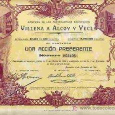 Coleccionismo Acciones Españolas: ACCION FERROCARRIL VILLENA ALCOY YECLA 1910 ( TITULO DE UNA ACCION ). Lote 125326602