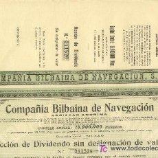 Coleccionismo Acciones Españolas: 1919 COMPAÑIA BILBAINA NAVEGACION ACCION DE DIVIDENDO 20 CUPONES Nº011527. Lote 24767402