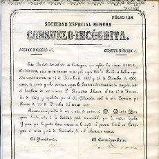 Coleccionismo Acciones Españolas: CARTAGENA 1860.- SOCIEDAD ESPECIAL MINERA CONSUELO-INCOGNITA. Lote 20136491